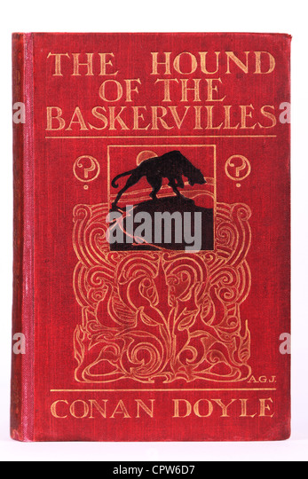 Hound of the Baskervilles book cover first edition Sherlock Holmes Arthur Conan Doyle published in 1902 - Stock Image