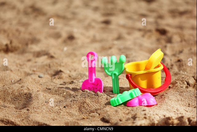 Plastic toys for the kids on the beach - Stock Image