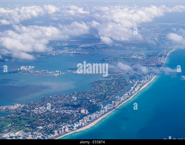 Abstract aerial view of Miami beach - Stock Image