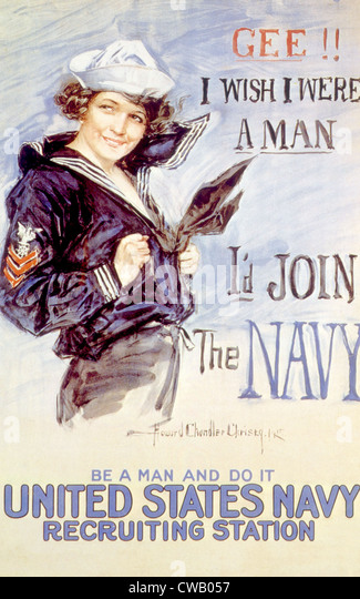 World War I American recuiting poster by Howard Chandler Christy, 1917 - Stock Image