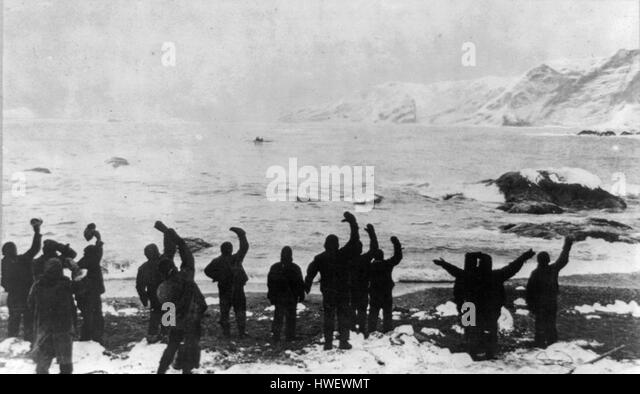 Shackleton's expedition to the Antarctic, rescue of men on Elephant Island - Stock-Bilder