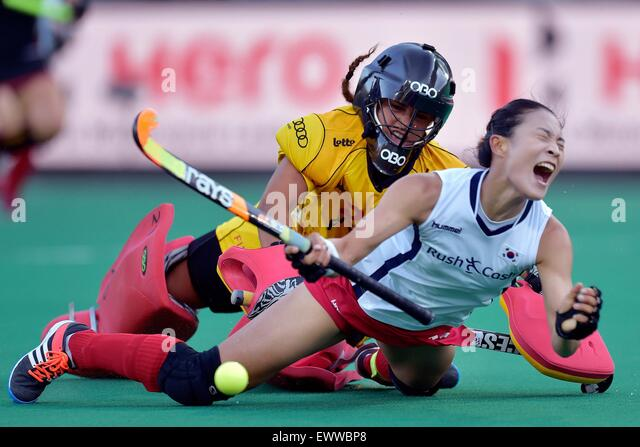 30.06.2015. KHC Dragons fields, Brasschaat, Antwerp, Belgium. World Field Hockey League. Belgium versus S. Korea. - Stock-Bilder