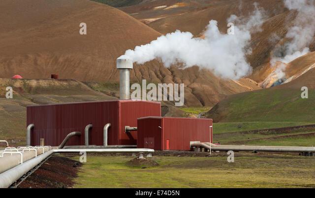 Geothermal Power Plant Station in the Krafla Volcanic Region Iceland - Stock Image