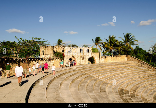 Altos de Chavon amphitheater tourist attraction at Casa de Campo, La Romana, Dominican Republic - Stock Image