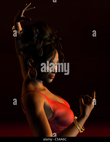 Spanish Flamenco Dancer on a dark stage - 2 - Stock Image