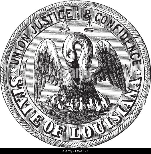 Great Seal of the State of Louisiana, USA, vintage engraving. Old engraved illustration of Great Seal of the State - Stock Image
