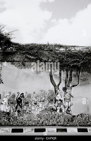 Urban Hindu religious graffiti art in Yogyakarta in Java in Indonesia in Southeast Asia Far East. b&w Ramayana - Stock Image