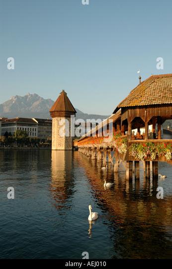 Lucerne luzern Switzerland Chapel Bridge or Kapellbrucke Water Tower - Stock Image