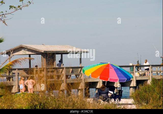 Florida Sanibel Island fishing pier - Stock Image