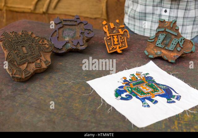 Woodblock printing, Jaipur,  India - Stock Image