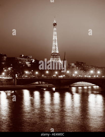 France Paris Eiffel tower sepia  - Stock Image
