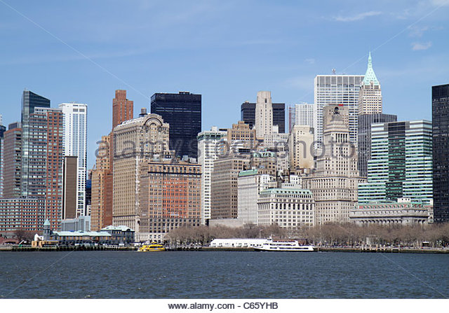 New York New York City NYC Lower Manhattan New York Harbor Hudson River Upper Bay Battery Park City Financial District - Stock Image