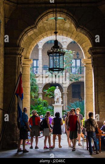 Cuba. Havana. Old Havana. Ornate entry to the Palacio de los Capitanes Generales. - Stock-Bilder
