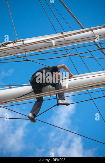 Sailors and participants working the Rigging and Sails at The 2010 Tall Ships Race in Hartlepool, Cleveland - Stock Image