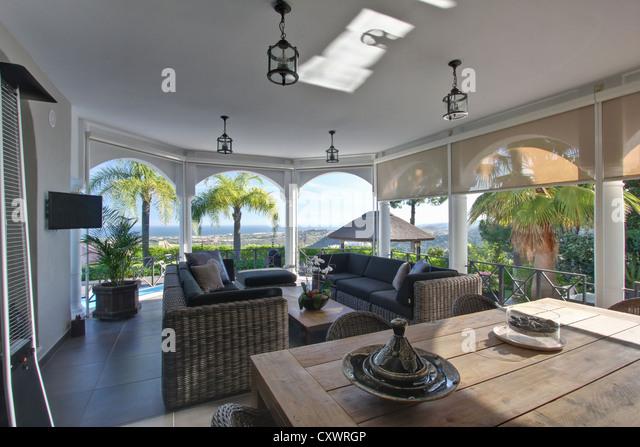 Straw sofas in modern living room - Stock-Bilder