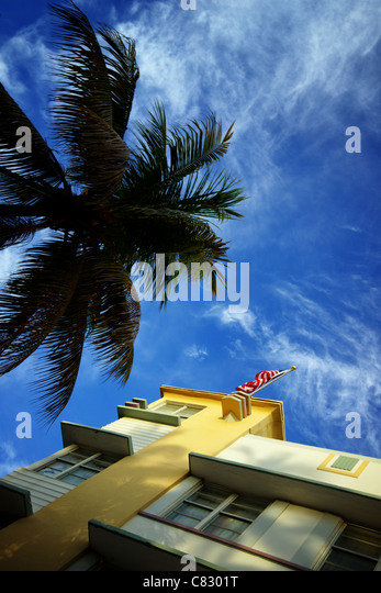 art deco facade in miami beach, florida - Stock Image