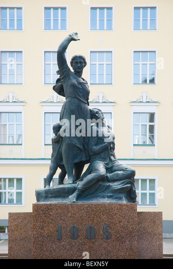 Statue in front of Estonian National Opera building in central Tallinn Estonia Europe - Stock Image