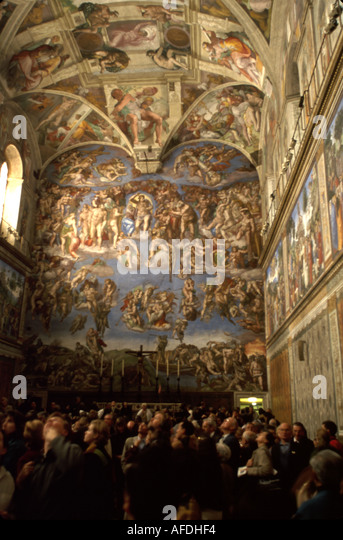 Vatican City Sistine Chapel Michelangelo's Creation painted 1508 to 1512 visitors ceiling - Stock Image