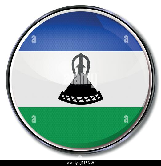 africa, monarchy, kingdom, lesotho, social, africa, flag, border, button, card, - Stock Image