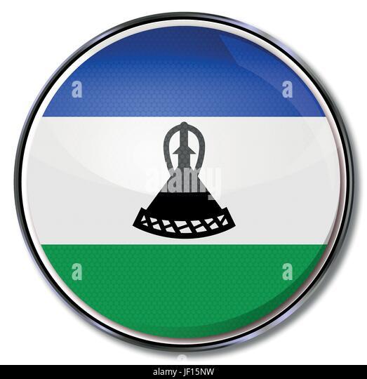 africa, monarchy, kingdom, lesotho, social, africa, flag, border, button, card, - Stock Image