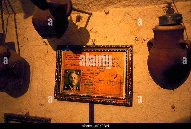 Libya Ghadames Picture frame on wall of World War II soldier in French army - Stock Image