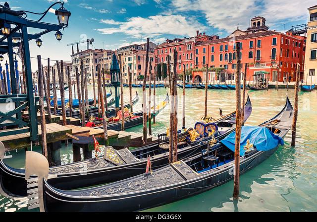 Gondolas on Grand canal in Venice - Stock-Bilder
