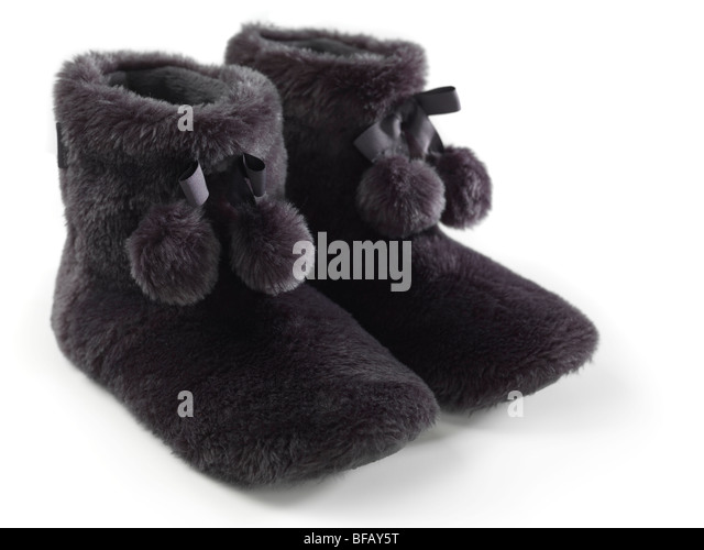 Warm booties isolated on white background - Stock Image