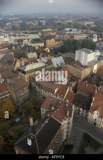 Latvia Riga aerial city skyline historic buildings - Stock Image