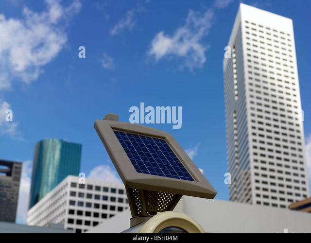 USA,Texas,Houston,solar powered parking meter - Stock Image