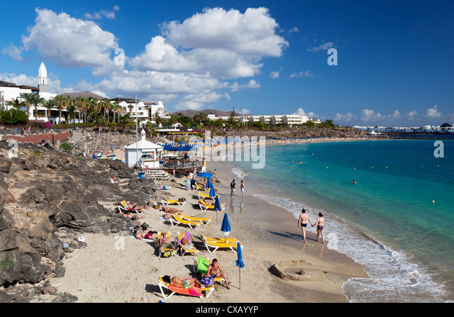 Beach view, Playa Blanca, Lanzarote, Canary Islands, Spain, Atlantic, Europe - Stock Image