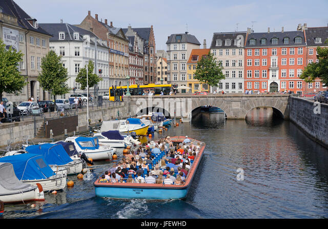 Copenhagen canal cruise boat for tourists. - Stock Image