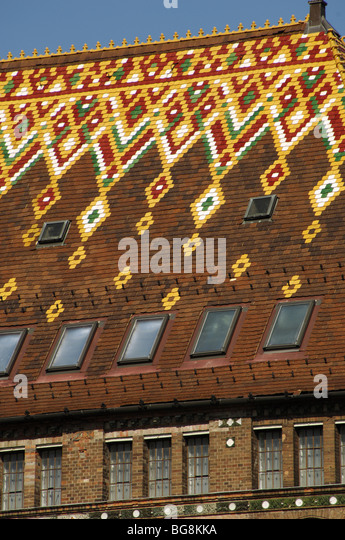 National Archives of Hungary. Decorated roof. Detail. Buddha. Budapest. Hungary. - Stock Image