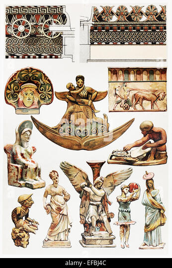 Vintage drawing of Terracotta designs in antiquity; drawing from the end of 19th century - Stock-Bilder