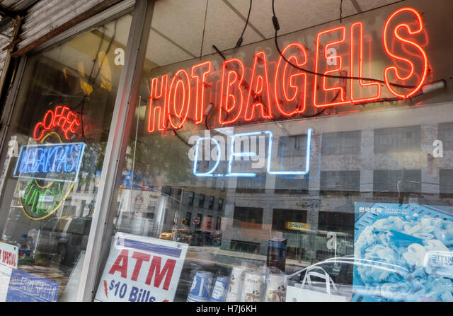 New York New York City NYC Queens Long Island City Oh! Bagels bagel shop cafe deli breakfast neon sign - Stock Image