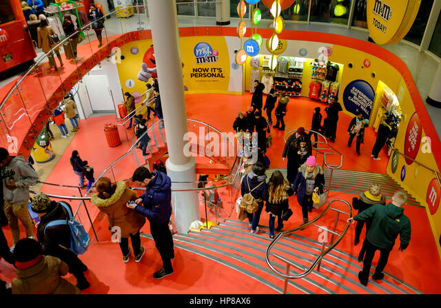 Interior of M&M World, Leicester Square, London, UK - Stock Image