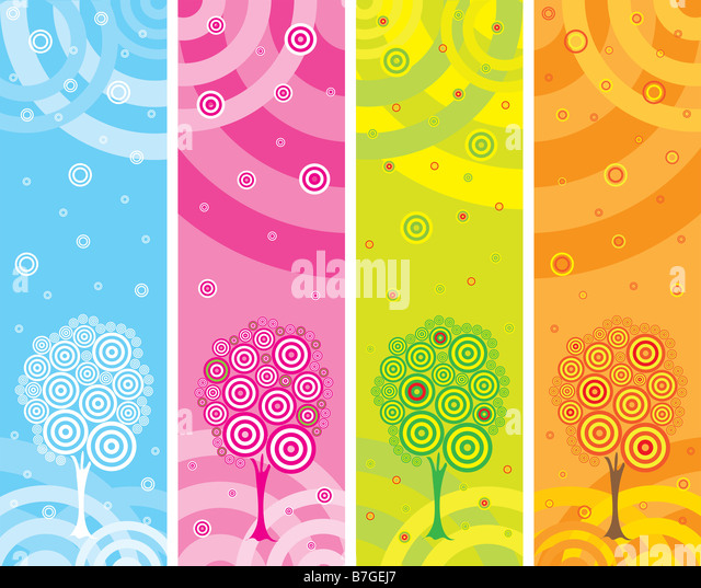 Illustration with four seasons - Stock Image