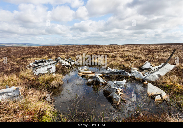Impact Crater from a Curtiss P40 Tomahawk AH744 Aircraft Which Crashed on Red Gill Moss in County Durham UK - Stock Image