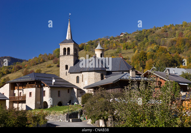 France, Savoie, Aigueblanche and Baroque Church of St. Martin on the 17th century in the hamlet of Villargerel, - Stock-Bilder