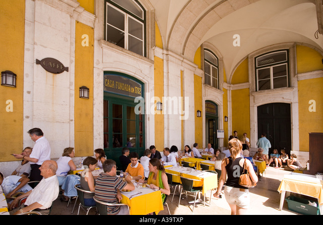 Portugal Lisbon Cafe Praca de Commercio - Stock Image