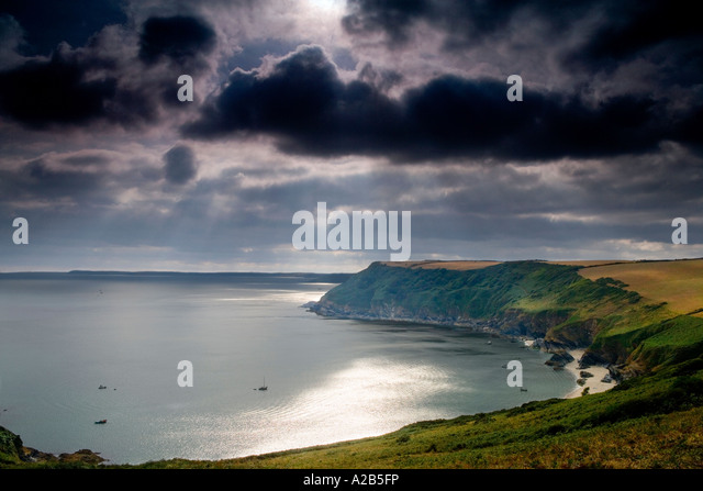 Stormy View of Lantic Bay South Cornwall England UK - Stock Image