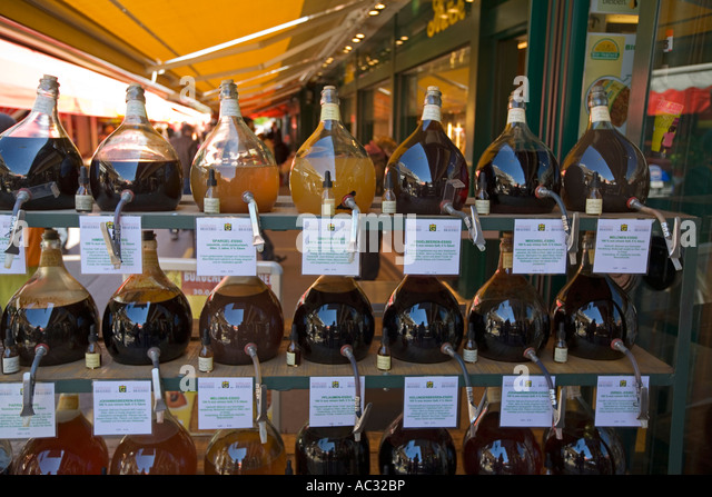 Vienna Naschmarkt food stall vinegar - Stock Image
