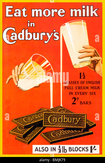 Eat More Milk In Cadburys, 1920s poster for the English chocolate bars and blocks - Stock-Bilder