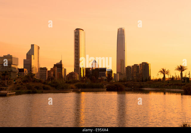 Skyline of buildings at Las Condes district, Santiago de Chile - Stock Image