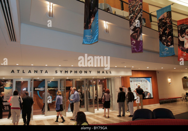Atlanta Georgia Midtown Peachtree Street Atlanta Symphony Hall performance patron man woman couple lobby banner - Stock Image
