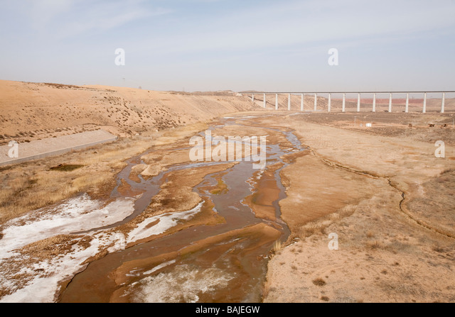 low water levels in shanxi province china caused by climate change - Stock Image