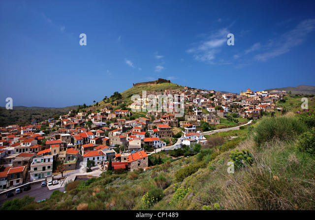 Volissos, one of the most beautiful villages of Chios, on the northeast part of the island. Northeast Aegean, Greece - Stock Image