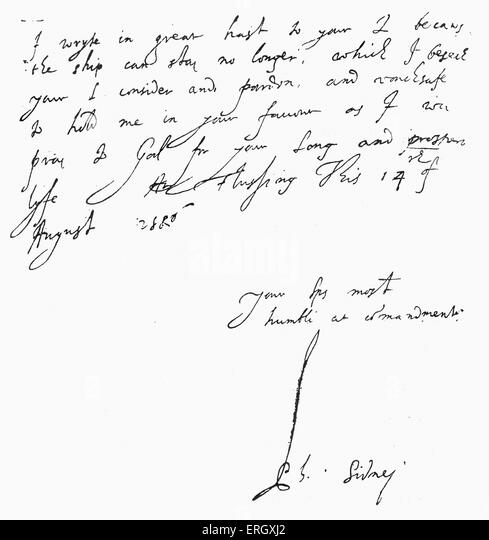 Letter from Philip Sidney to William Cecil, 1st Baron Burghley : 15 August 1506. Signed handwritten manuscript. - Stock Image