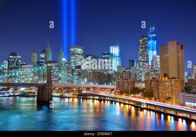 Tribute in Light memorial for September 11, 2001 in New York City. - Stock Image