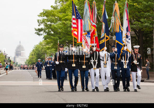 Joint Service Honor Guard marching during the 150 year anniversary of the Grand Review Parade - Washington, DC USA - Stock Image