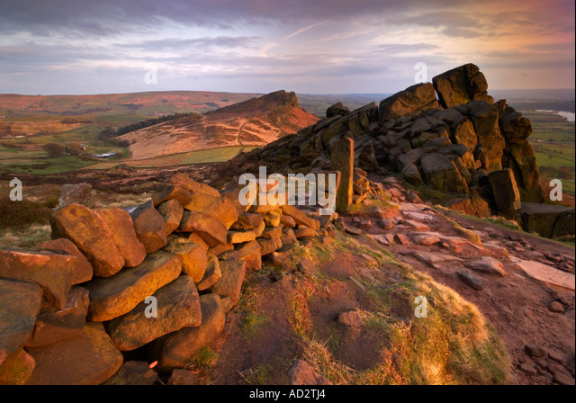 Stone Wall and Gate Stumps at the Roaches Staffordshire UK - Stock Image